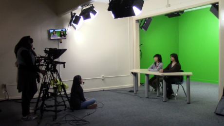 Students taping for the weekly broadcast.